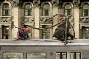 Alfred Molina e Tobey Maguire in una scena di Spider-Man 2