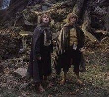 Dominic Monaghan e Billy Boyd in una scena di Il signore degli anelli - Le due torri