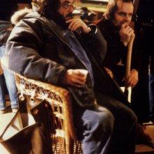 Il regista Stanley Kubrick e Jack Nicholson sul set di Shining