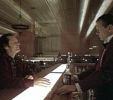 Jack Nicholson e Joe Turkel in una sequenza di Shining