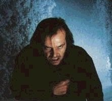 Jack Nicholson in una sequenza di Shining