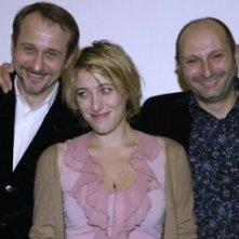 Berlinale 2005: Valeria Bruni Tedeschi con i registi Olivier Ducastel e Jacques Martineau presenta Crustaces et Coquillages
