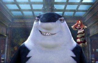 Don Lino con la sexy pesciolina Lola in una scena di Shark Tale
