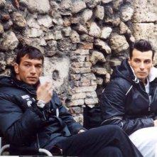 Daniele Interrante e Costantino Vitagliano sul set di Troppo belli