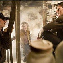 Steven Spielberg, Tom Cruise e Dakota Fanning sul set de La guerra dei mondi