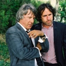 Dustin Hoffman e il regista David O. Russell sul set di I Love Huckabees