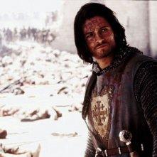 Orlando Bloom in una scena de Le crociate, nel 2005