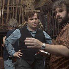 Jack Black e Peter Jackson sul set di King Kong