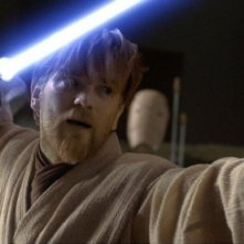 Ewan McGregor in una sequenza del film Star Wars ep. III - La vendetta dei Sith