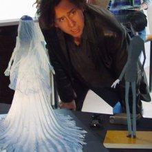 Tim Burton sul 'set' de La sposa cadavere