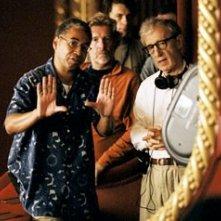 Remi Adefarasin e Woody Allen sul set di Match POint