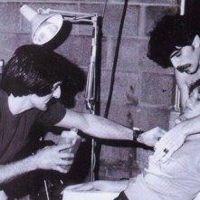 Robbi Morgan e Tom Savini sul set di Venerdì 13