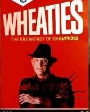 Robert Englund nei panni di Freddy Krueger, ed immortalato su una scatola di cereali per la prima colazione