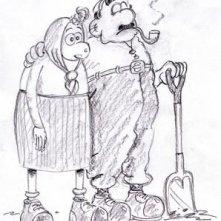 Uno schizzo preparatorio per Wallace and Gromit
