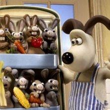 Un frigo pieno di conigli in Wallace & Gromit: La maledizione del coniglio mannaro