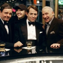Nathan Lane, Susan Stroman, Matthew Broderick e Mel Brooks sul set di The Producers