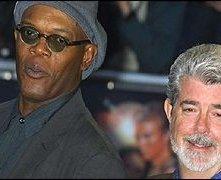 Samuel L. Jackson e George Lucas all'anteprima di Star Wars ep. III