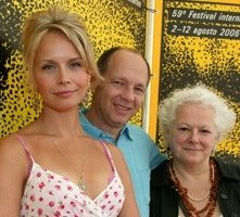 Locarno 2006 -  Sonya Salomaa, attrice, Pierre Gang, regista e Louise Jobin, produttrice del film BLACK EYED DOG