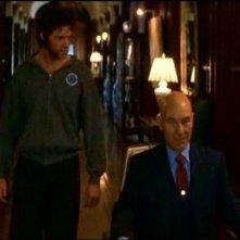 Hugh Jackman e Patrick Stewart in una scena di X-MEN