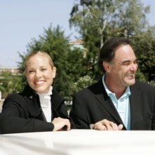 Maria Bello con Oliver Stone a Venezia 2006 per presentare World Trade Center