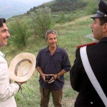Vincenzo Salemme, Roberto Cimpanelli e Neri Marcorè sul set del film Baciami piccina
