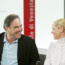 Maria Bello e Oliver Stone a Venezia 2006 per presentare World Trade Center