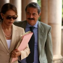 Massimo Dapporto con Elena Sofia Ricci in una scena della fiction 'Giovanni Falcone'