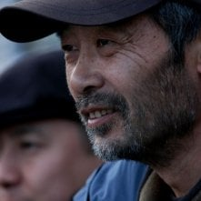 Tian Zhuangzhuang sul set del film The Go Master