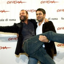Eugenio Cappuccio con Fabio Volo a Roma per presentare il film Uno su due