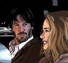 Keanu Reeves e Winona Ryder in una scena del film A scanner darkly