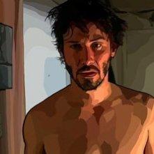 Keanu Reeves in una sequenzadel film A scanner darkly