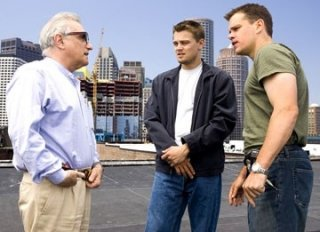 Matt Damon, Martin Scorsese e Leonardo DiCaprio sul set di The Departed