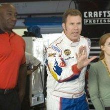Will Ferrell, Amy Adams e Clarke Duncan sul set di  Ricky Bobby - la storia di un uomo che sapeva contare fino a uno