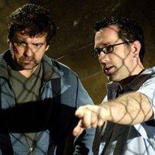 Angus MacFadyen e Darren Lynn Bousman sul set di Saw 3