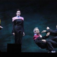 Silvana Fallisi, Aldo, Giovanni e Giacomo in una scena di Anplagghed al cinema