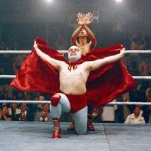 Jack Black , wrestler in incognito in una scena di Super Nacho