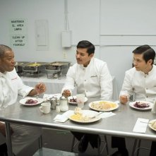Laurence Fishburne, Freddy Rodriguez e Jacob Vargas in una scena di Bobby
