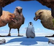 Una scena del film d'animazione Happy Feet