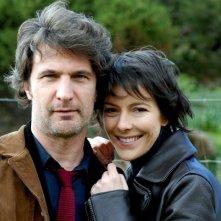 Andrea Renzi e Barbara Livi sul set del film TV Disegno di sangue