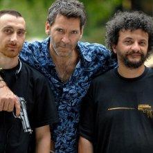 Rodolfo Corsato e i Manetti Bros sul set del film Morte di un confidente