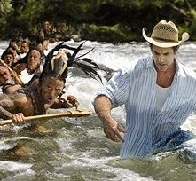 Rudy Youngblood e Mel Gibson sul set del film Apocalypto