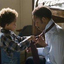 Jaden e Will Smith in una scena del film La ricerca della felicità