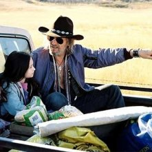 Jodelle Ferland e Jeff Bridges in una sequenza di Tideland