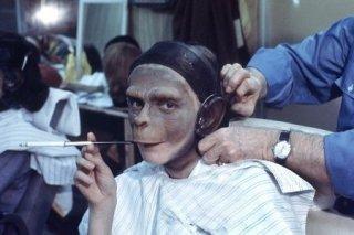 Un'immagine scattata sul set de Il pianeta delle scimmie