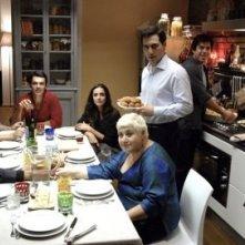 Pierfrancesco Favino, Ambra Angiolini e Margherita Buy in una scena di Saturno Contro
