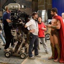 Zack Snyder e Gerard Butler sul set di 300