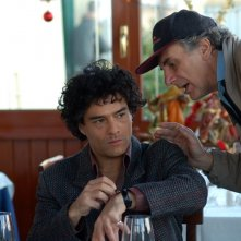 marco Leonardi e Marco Risi sul set del film Maradona, la mano di Dio