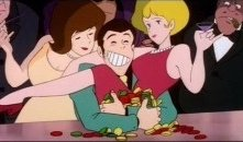 Lupin beato tra le donne in una immagine del film Lupin III: Il castello di Cagliostro