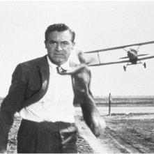 Cary Grant in una scena di Intrigo Internazionale, quella in cui viene inseguito da un aereo.
