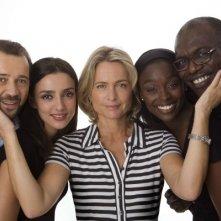Cristina Comencini, regista di Biancoe  Nero, e gli interpreti Fabio Volo, Ambra Angiolini, Aissa Maiga e Eriq Ebouanay